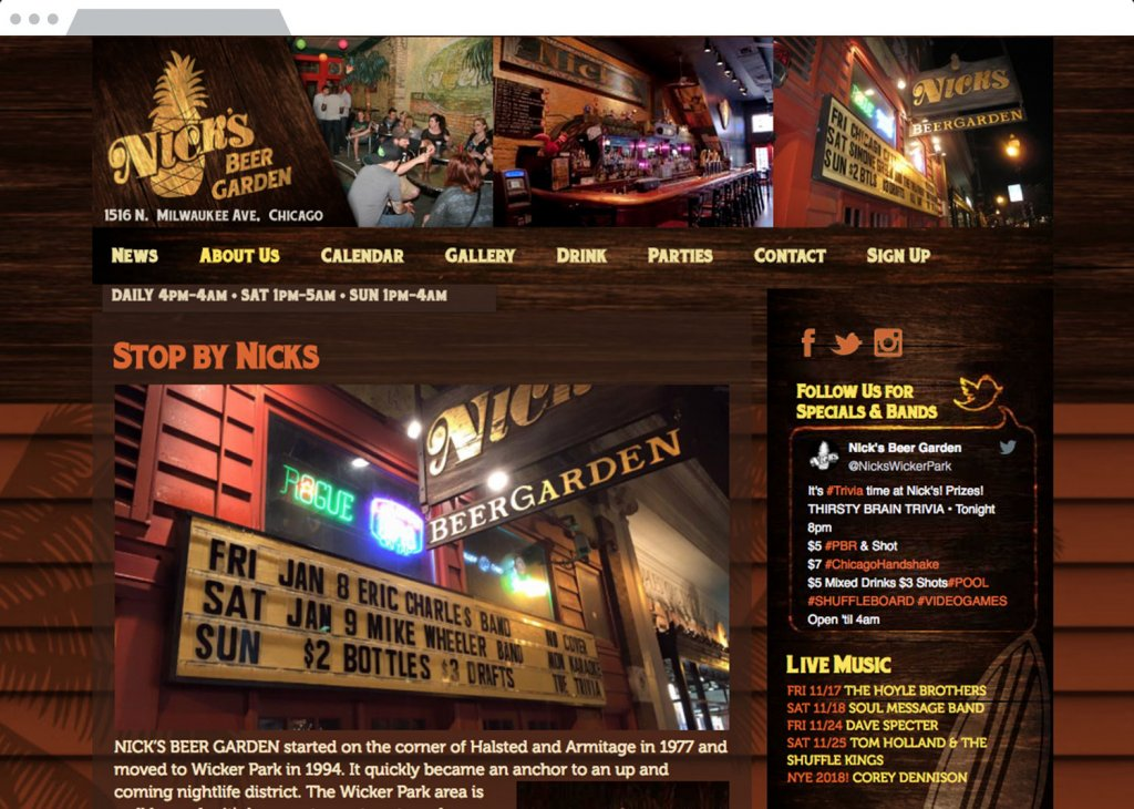 Nicks Beer Garden Responsive Website Design